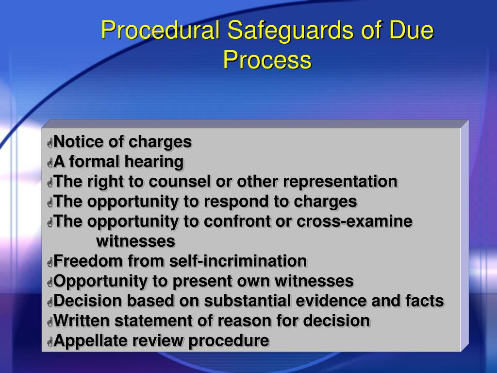 Procedural Safeguards of Due Process