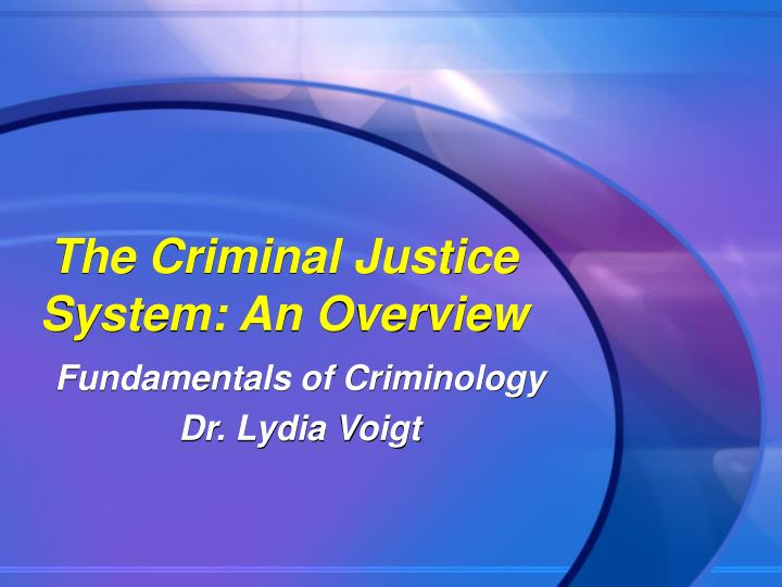The criminal justice system an overview l.jpg