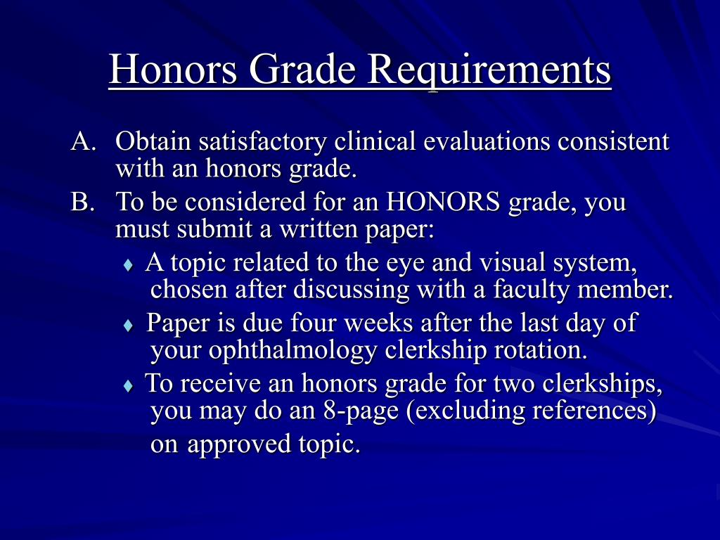 Honors Grade Requirements
