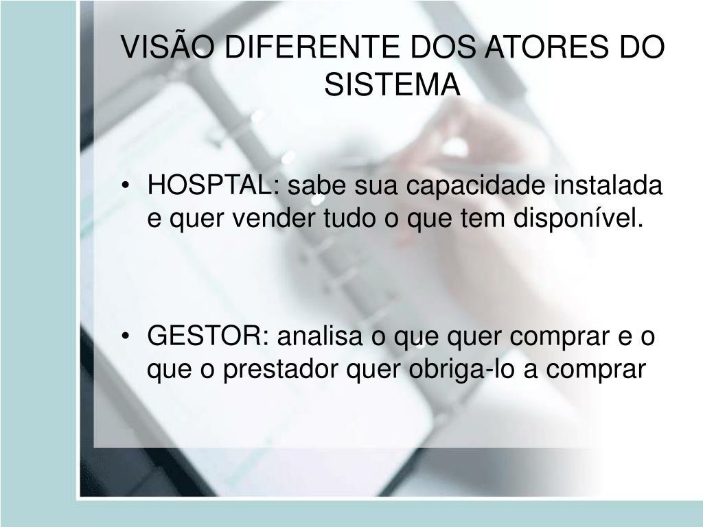VISÃO DIFERENTE DOS ATORES DO SISTEMA