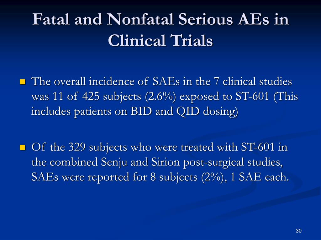 Fatal and Nonfatal Serious AEs in Clinical Trials