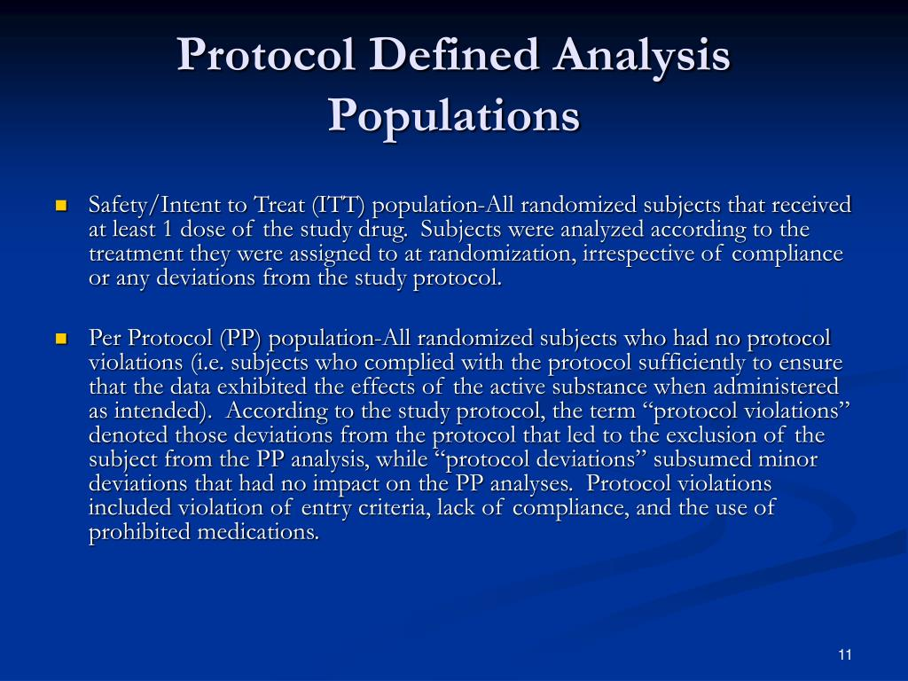 Protocol Defined Analysis Populations