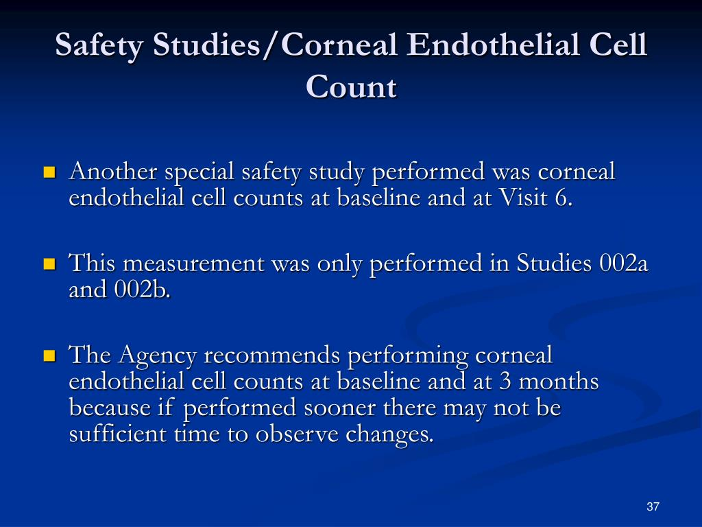 Safety Studies/Corneal Endothelial Cell Count