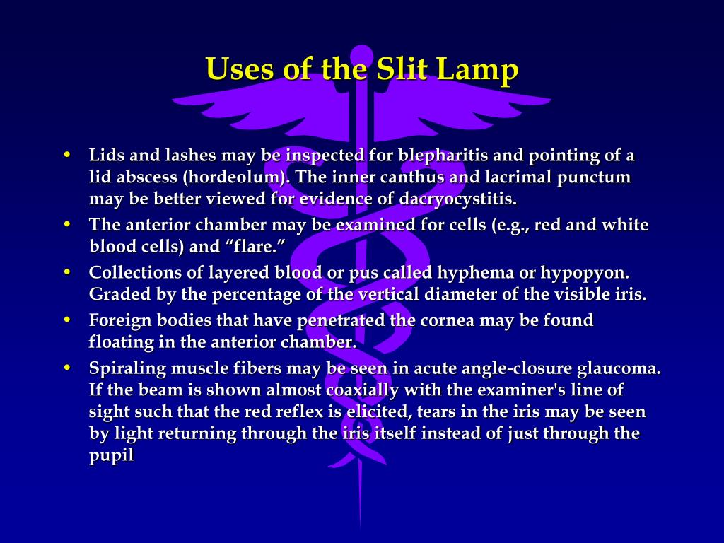 Uses of the Slit Lamp