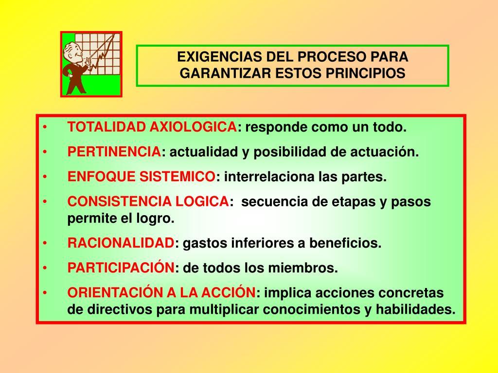 EXIGENCIAS DEL PROCESO PARA GARANTIZAR ESTOS PRINCIPIOS