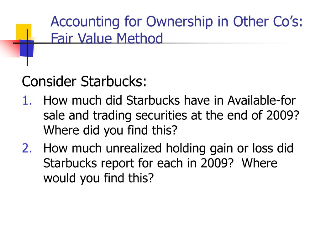 Accounting for Ownership in Other Co's: Fair Value Method