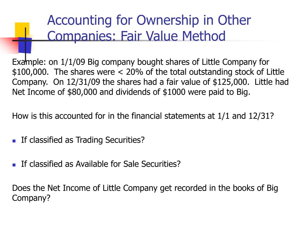 Accounting for Ownership in Other Companies: Fair Value Method