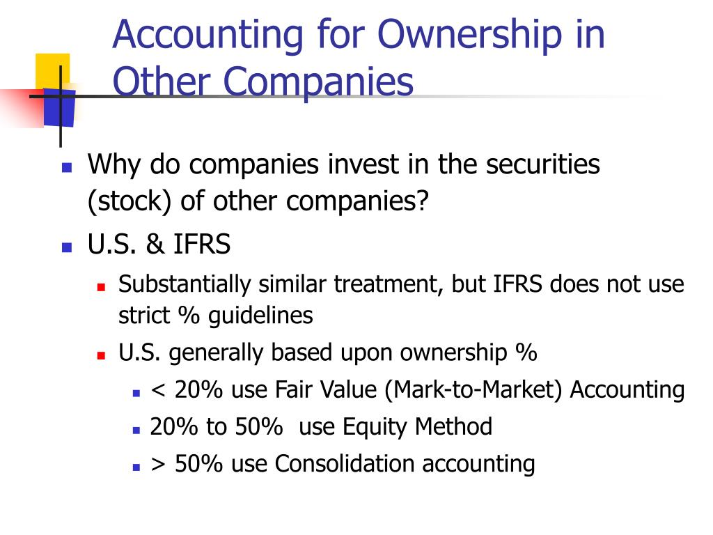 Accounting for Ownership in Other Companies