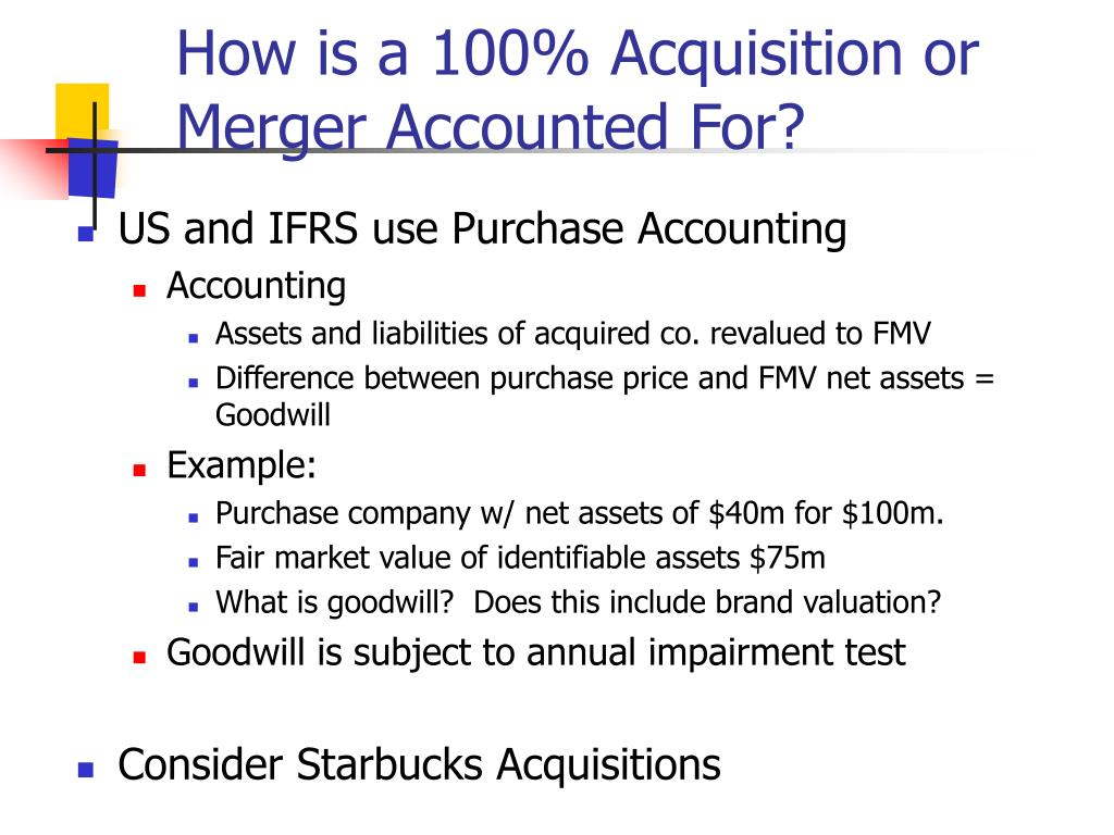 How is a 100% Acquisition or Merger Accounted For?