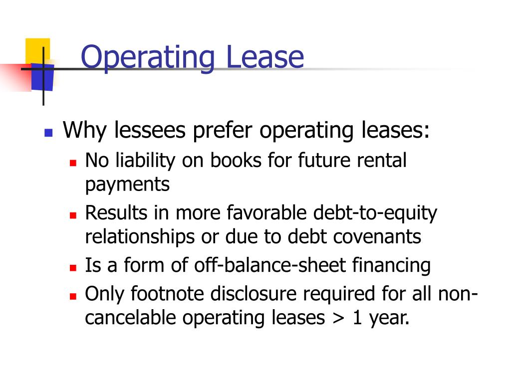operating leases Operating leases • do not appear on the balance sheet today, however under  new fasb regulation asu 2016-02, companies will now have to include lease.