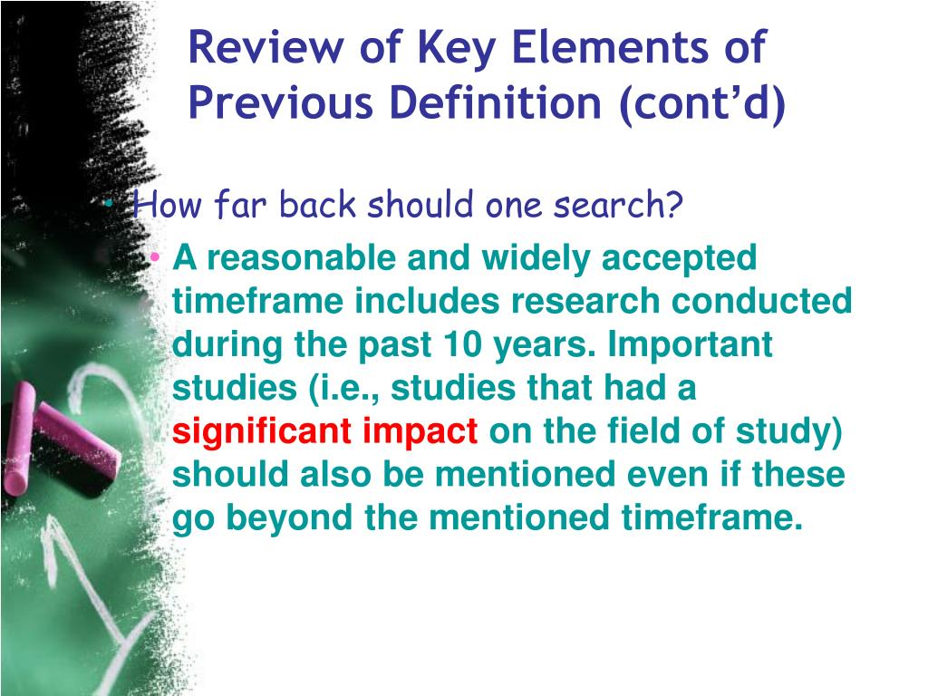 Review of Key Elements of Previous Definition (cont