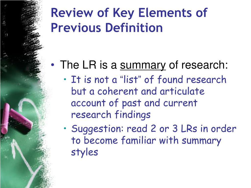 Review of Key Elements of Previous Definition