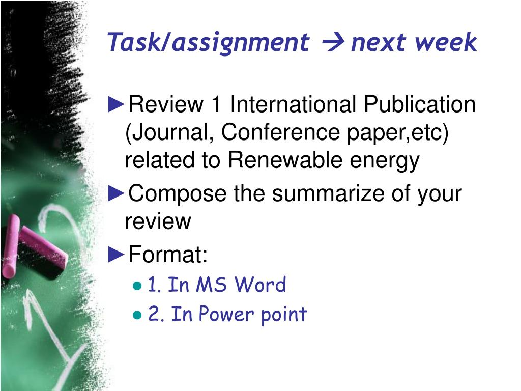 Task/assignment