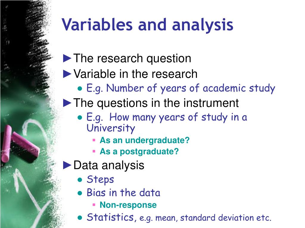 Variables and analysis