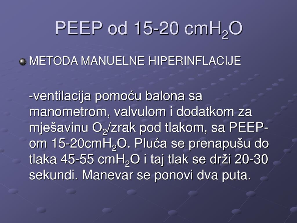 PEEP od 15-20 cmH