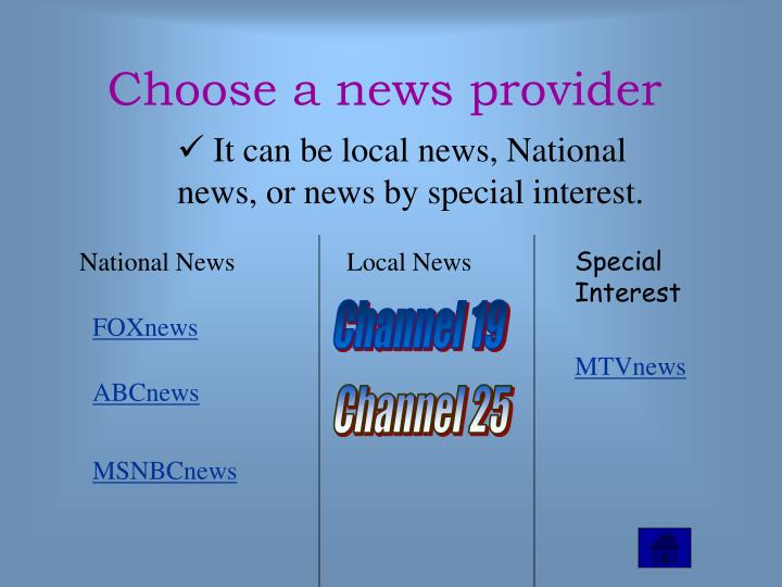 Choose a news provider
