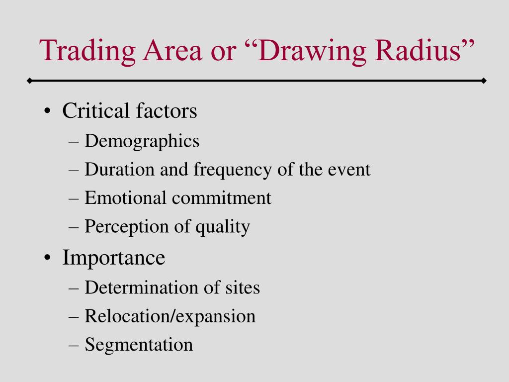 "Trading Area or ""Drawing Radius"""