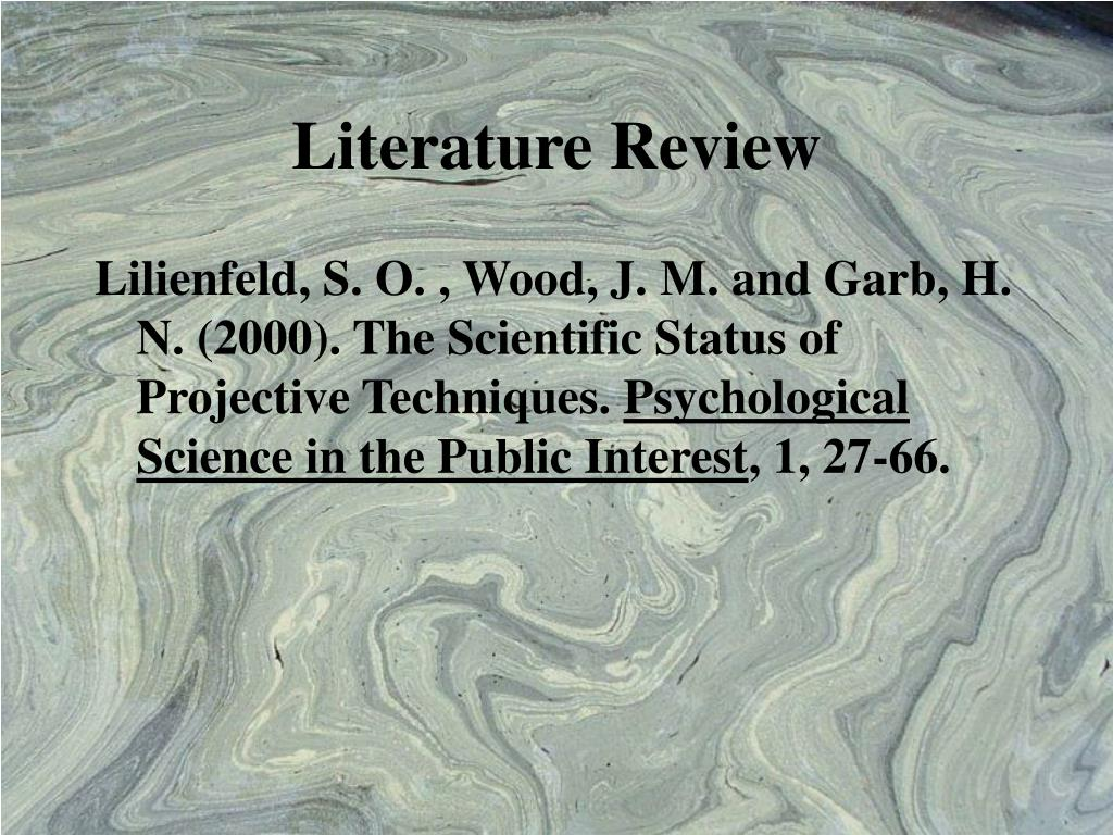 Literature review on psychometric test