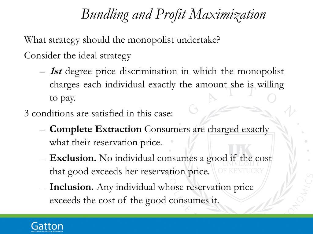 Bundling and Profit Maximization