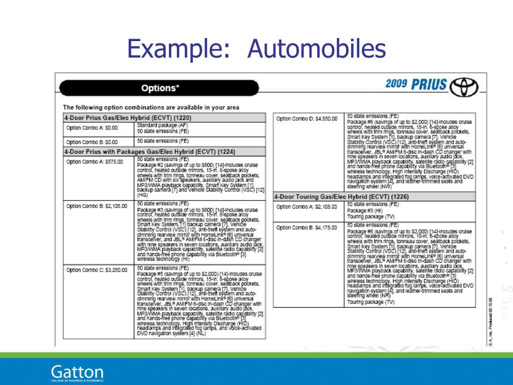 Example:  Automobiles