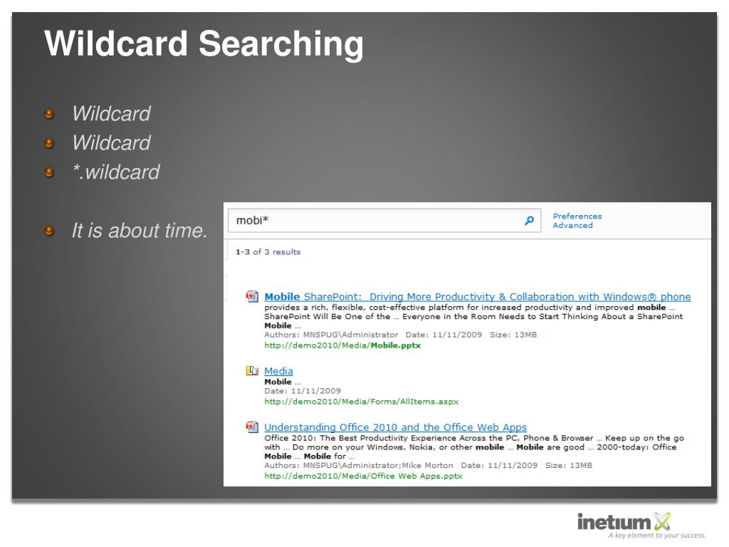 Wildcard Searching