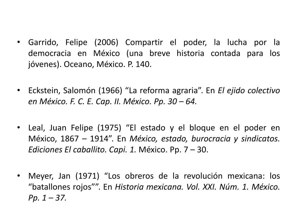 Garrido, Felipe (2006) Compartir el poder, la lucha por la democracia en México (una breve historia contada para los jóvenes). Oceano, México. P. 140.