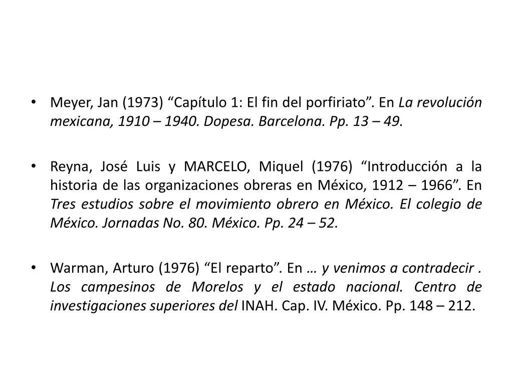 """Meyer, Jan (1973) """"Capítulo 1: El fin del porfiriato"""". En"""