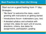 best practice 4 start out strong