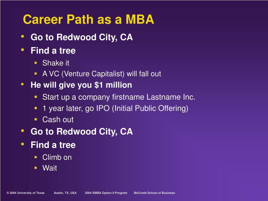Career Path as a MBA