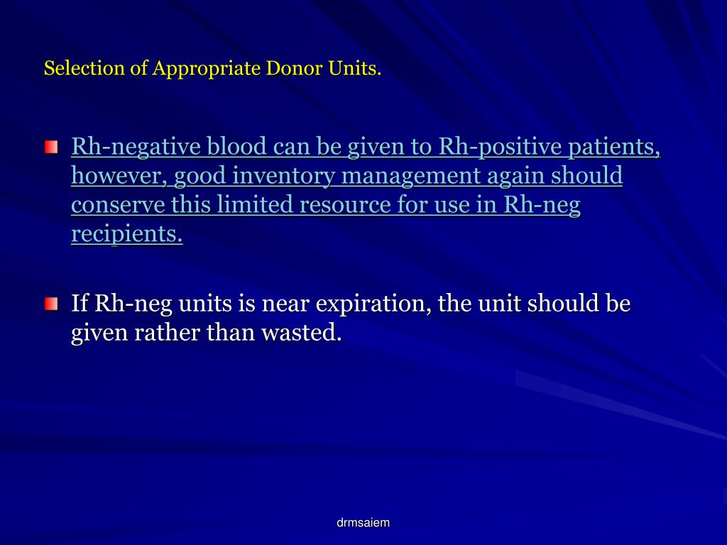 Selection of Appropriate Donor Units.