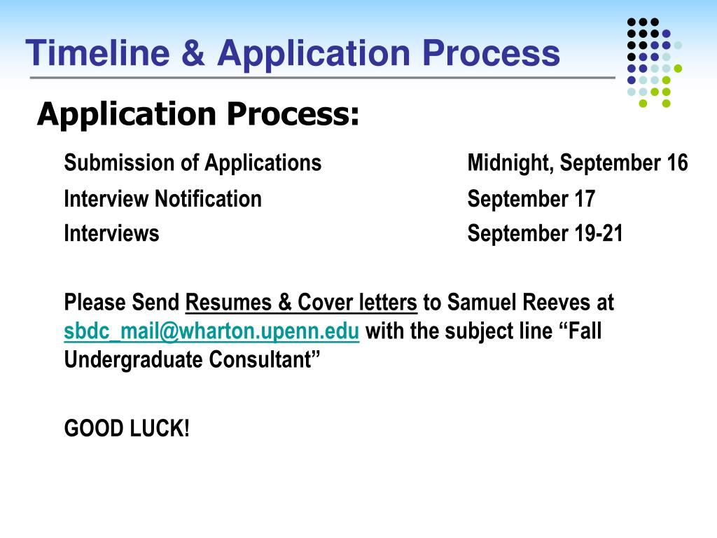 Timeline & Application Process
