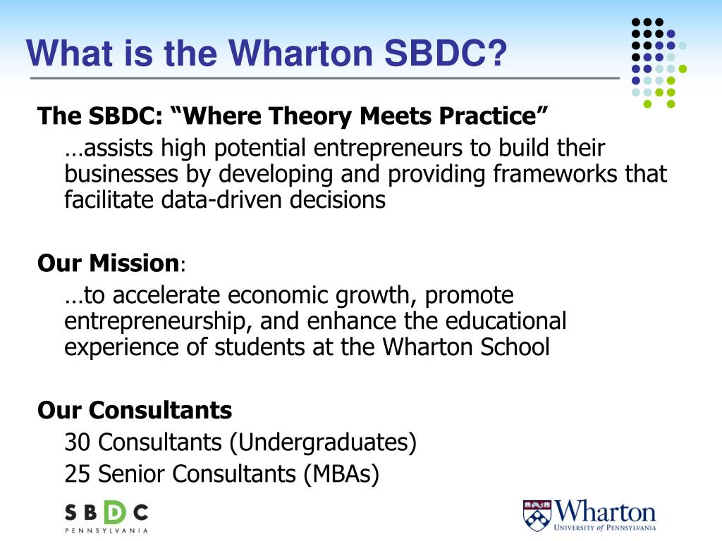 What is the Wharton SBDC?