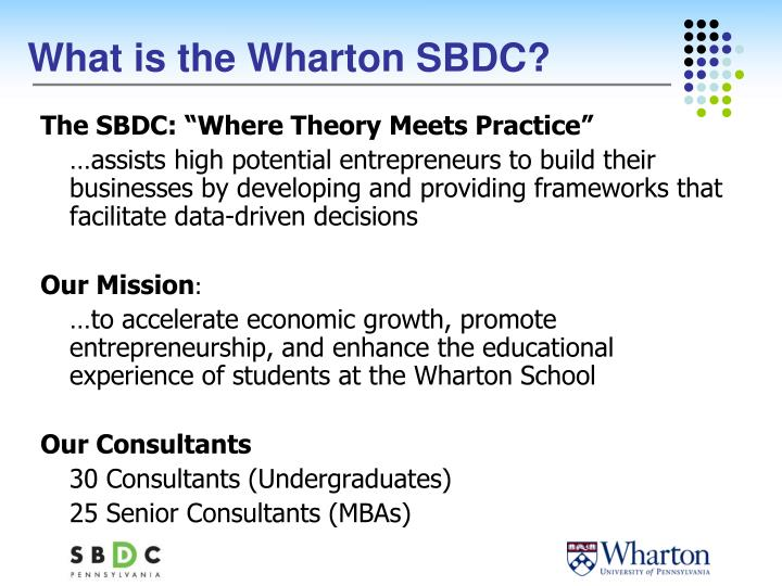 What is the wharton sbdc