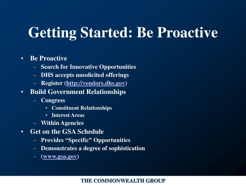 Getting Started: Be Proactive