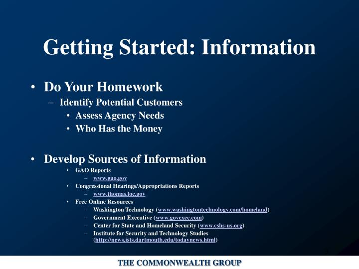 Getting started information l.jpg