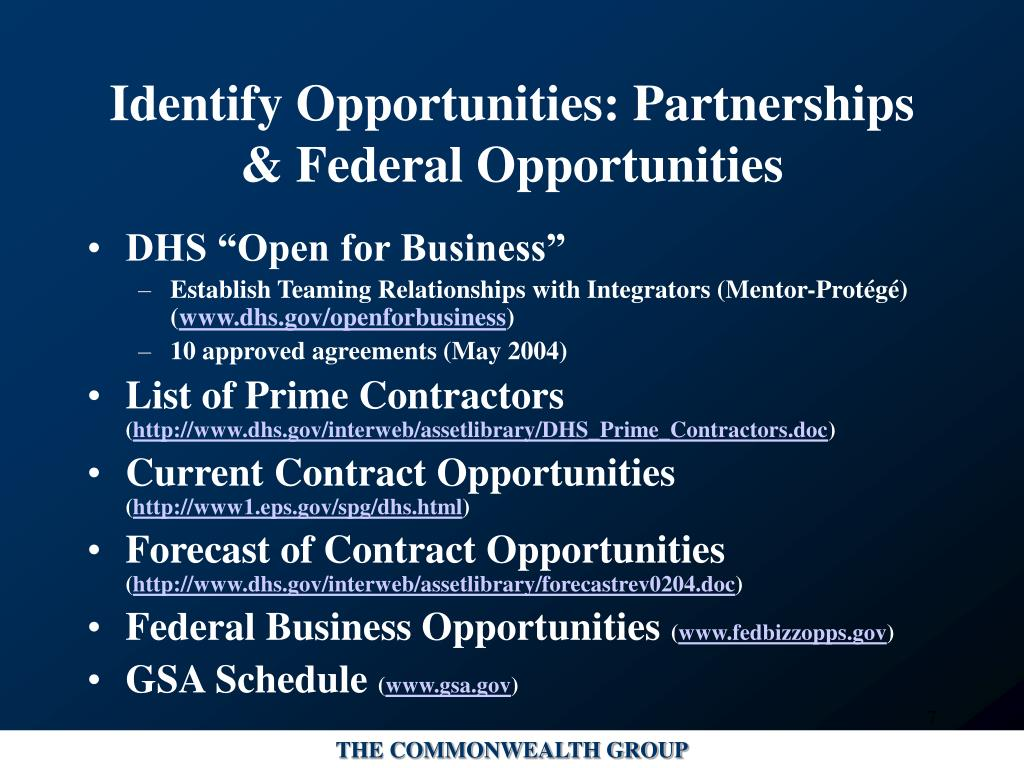 Identify Opportunities: Partnerships & Federal Opportunities