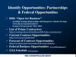 identify opportunities partnerships federal opportunities