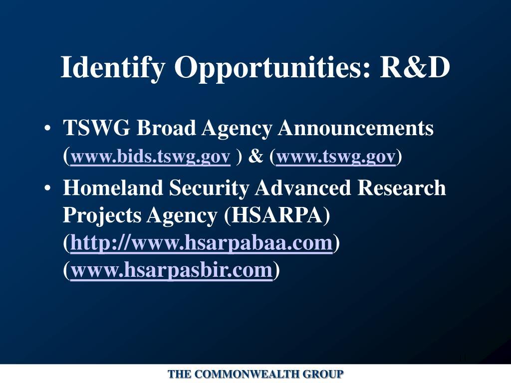 Identify Opportunities: R&D