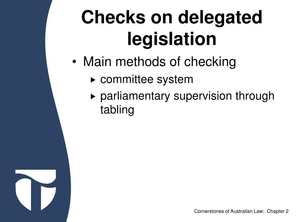Checks on delegated legislation