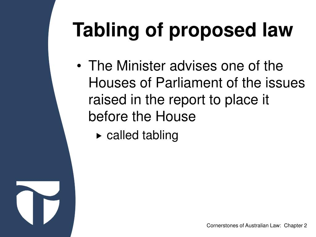 Tabling of proposed law