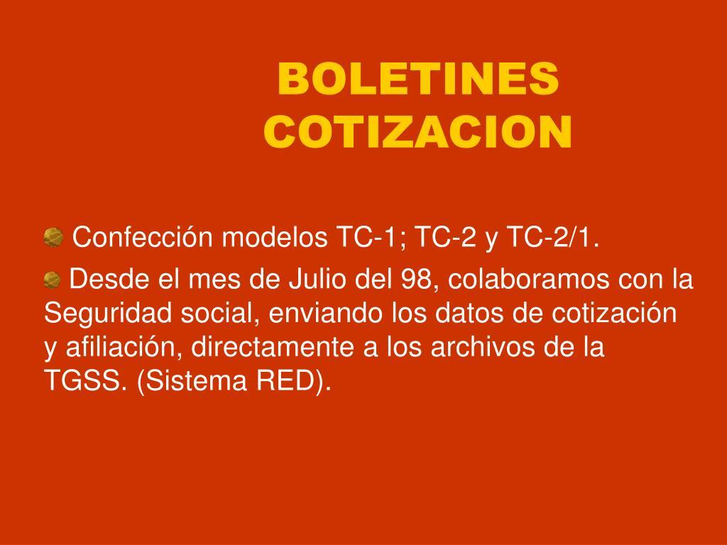 BOLETINES COTIZACION