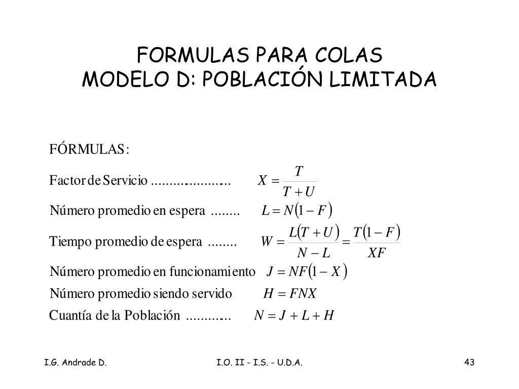 FORMULAS PARA COLAS