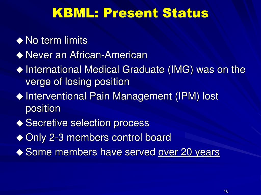 KBML: Present Status
