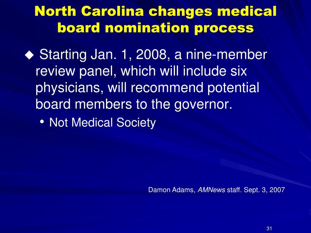 North Carolina changes medical board nomination process