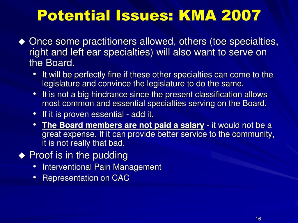 Potential Issues: KMA 2007