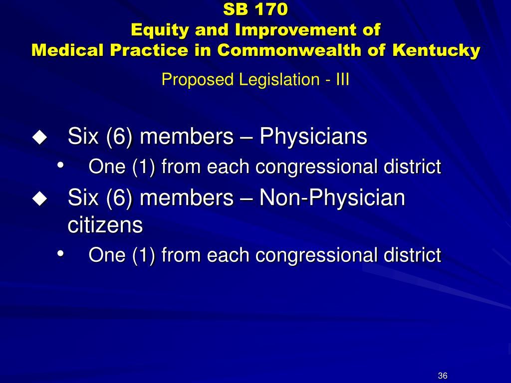 Proposed Legislation - III