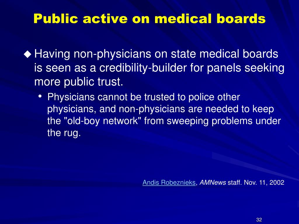 Public active on medical boards