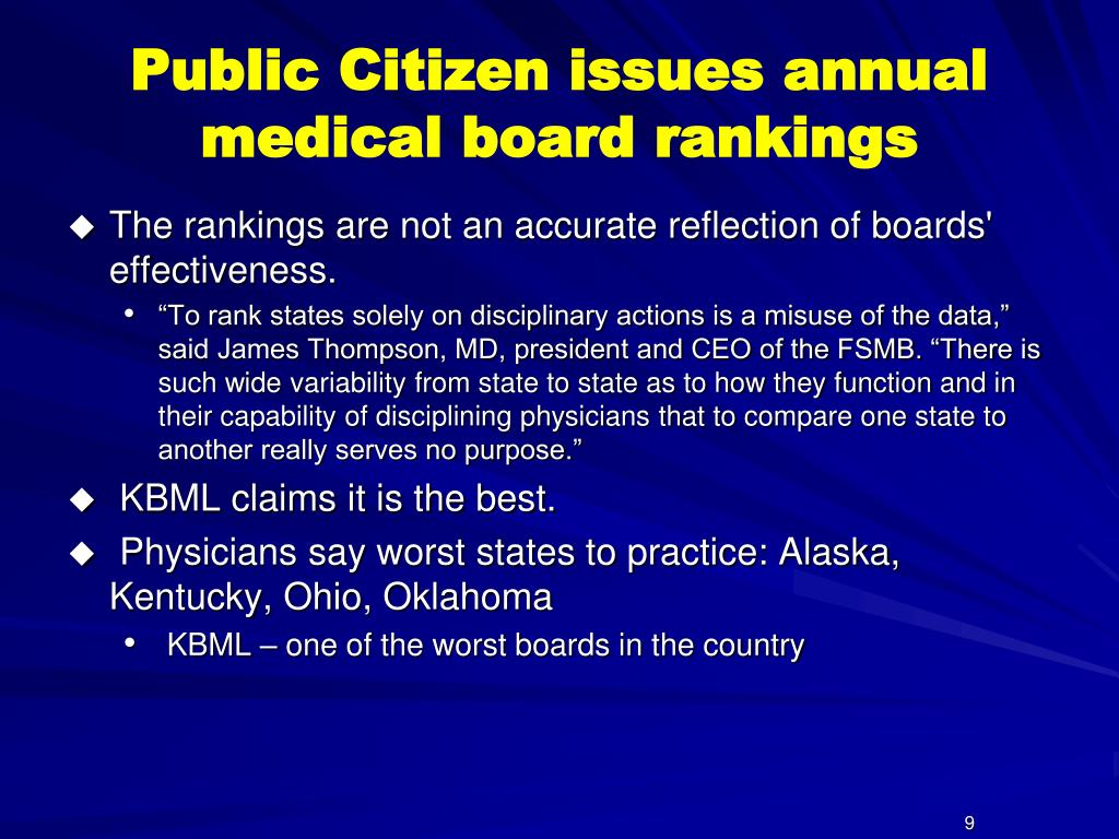 Public Citizen issues annual medical board rankings