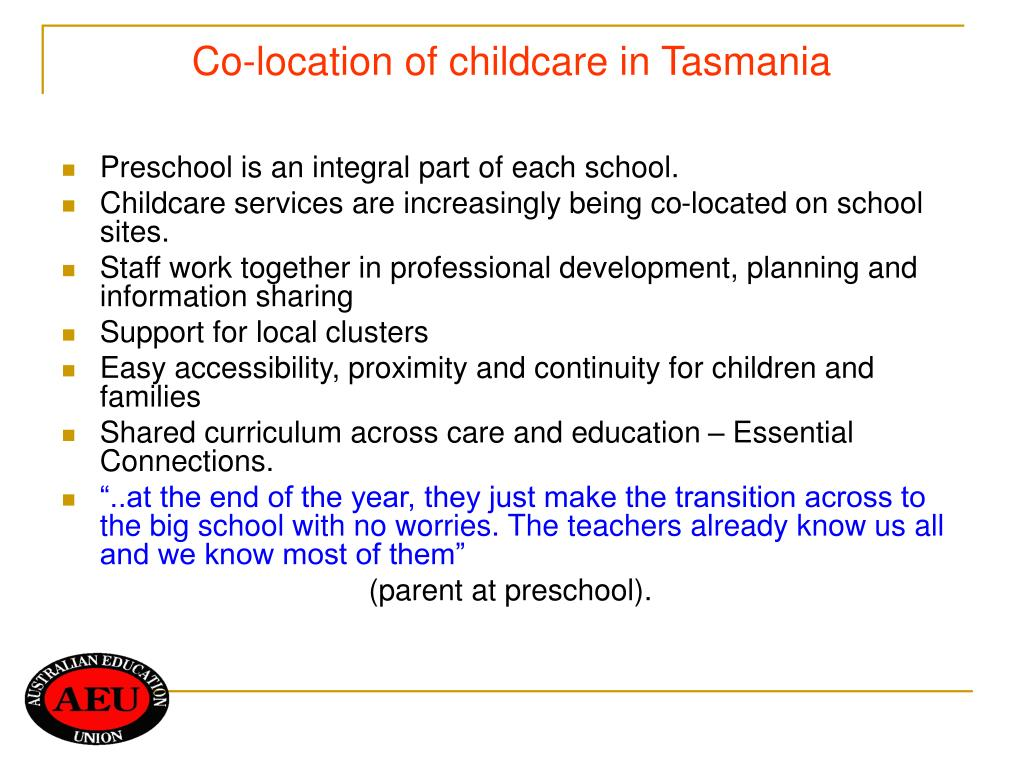Co-location of childcare in Tasmania