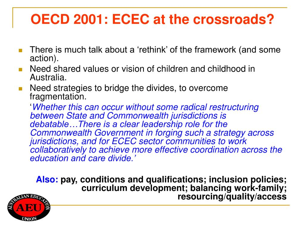 OECD 2001: ECEC at the crossroads?